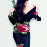 Knitted dress black whit roses
